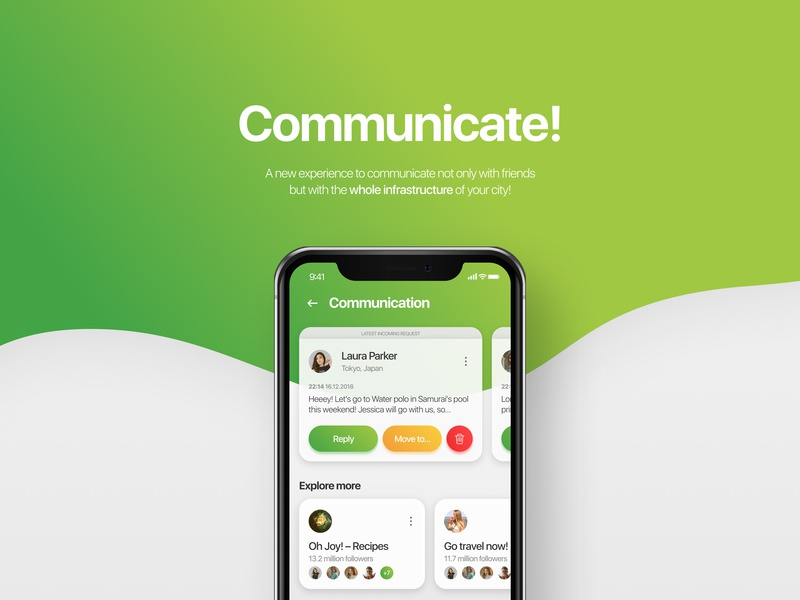 Communicate - social app ui communication explore social app social modern interface interact communicate figma application mobile app mobile clean design app ux ui