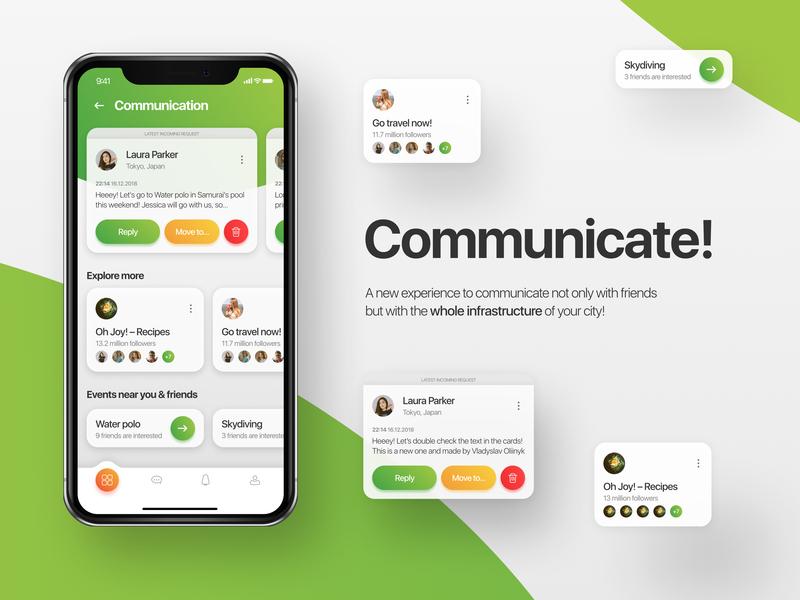 Communicate - social app ui social app social mobile ux ux  ui ui interface interact explore clean app design communication clean application app  design app