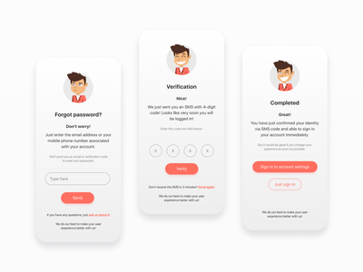 Forgot your password? No problem understandable clear useroriented userfriendly flow illustration characters restore password pass interface mobile app application mobile figma clean design ux app ui