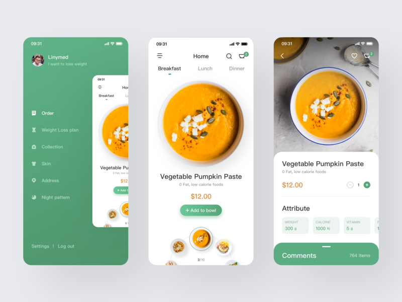 Healthy Slim Food 设计 ux app ui