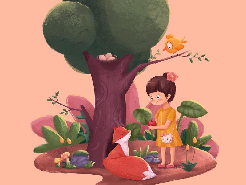 喂小狐狸的小女孩 illustration