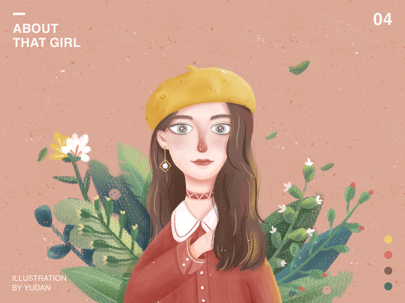 About that girl (04) tunan flowers landscape scenery gradient flat girl color life character illustration