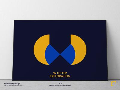 W Letter Exploration minimal wings logo design design shape elements w letter logo lettermark geometric design