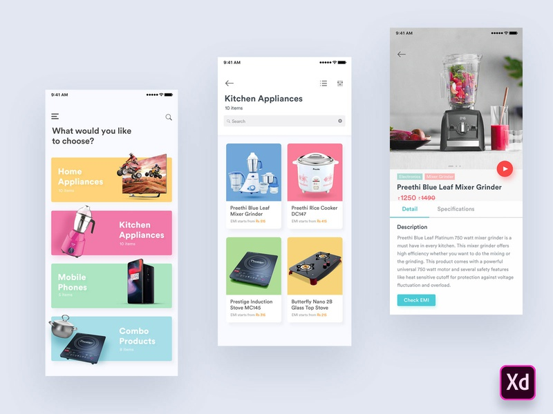 E-Catalog App for Android loan emi shopping e-commerce android app design android app flat design gradient illustration product design adobe xd financial app finance app catalog design uxdesign uiux ecommerce app ecommerce