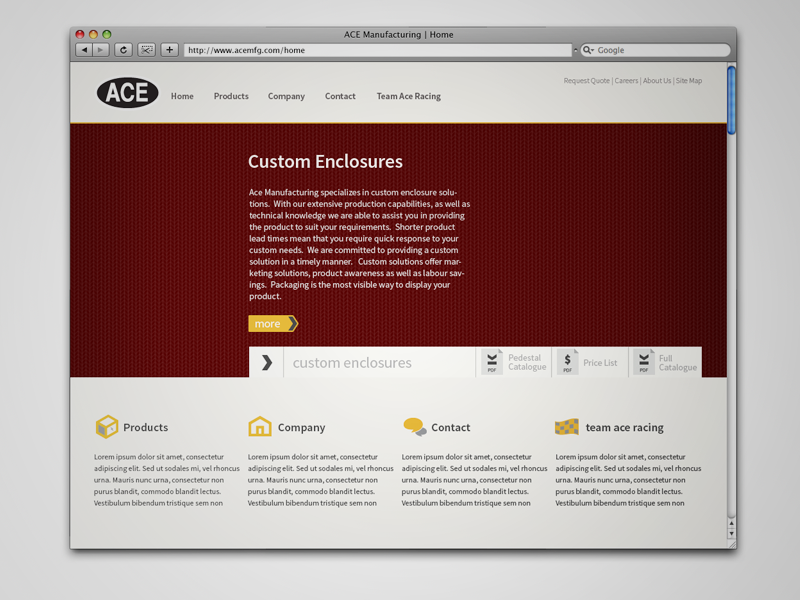 Ace Manufacturing Home Page (Top) website layout web design clean flat flat design home page icons