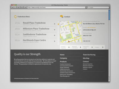 Ace Manufacturing Home Page (Bottom)