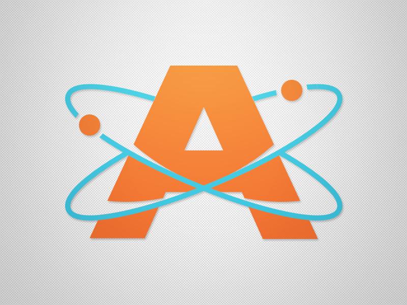 Atoms Logo flat design atom modern design concept sport logo branding sports bold clean logo