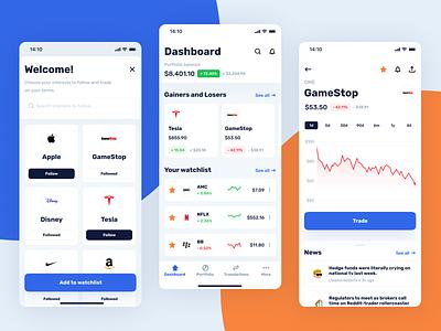 Investing concept app investing app gamestop stock market stonks stock app concept application ux design app design ux uiux ui design ui