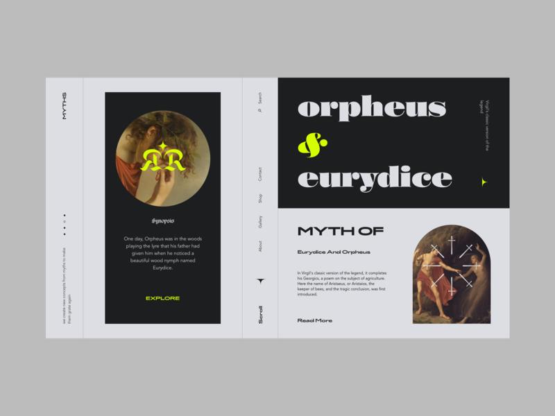 Myth of Orpheus and Eurydice orpheus history mithology myth typography branding webdesign web ux interface ui design