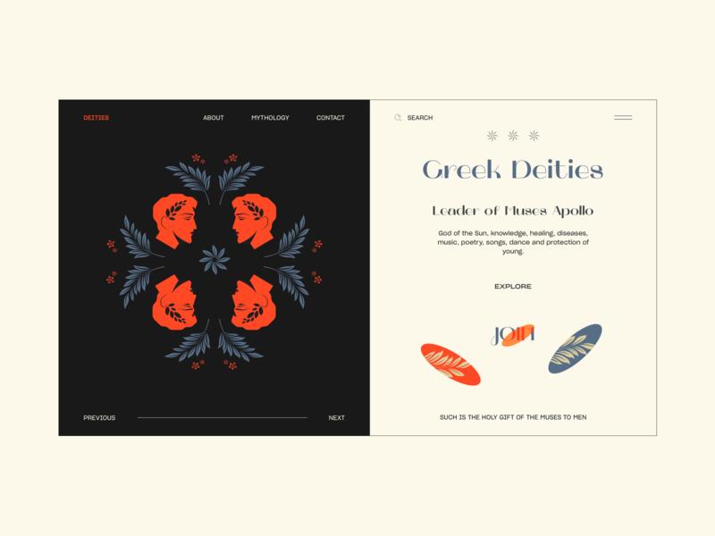Greek Deities web vector webdesign ux greek god apollo illustration ui interface design