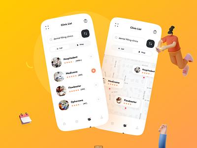 DentFX - Find Dental Clinic ux mobile ui icon health gradient design dentist dental app