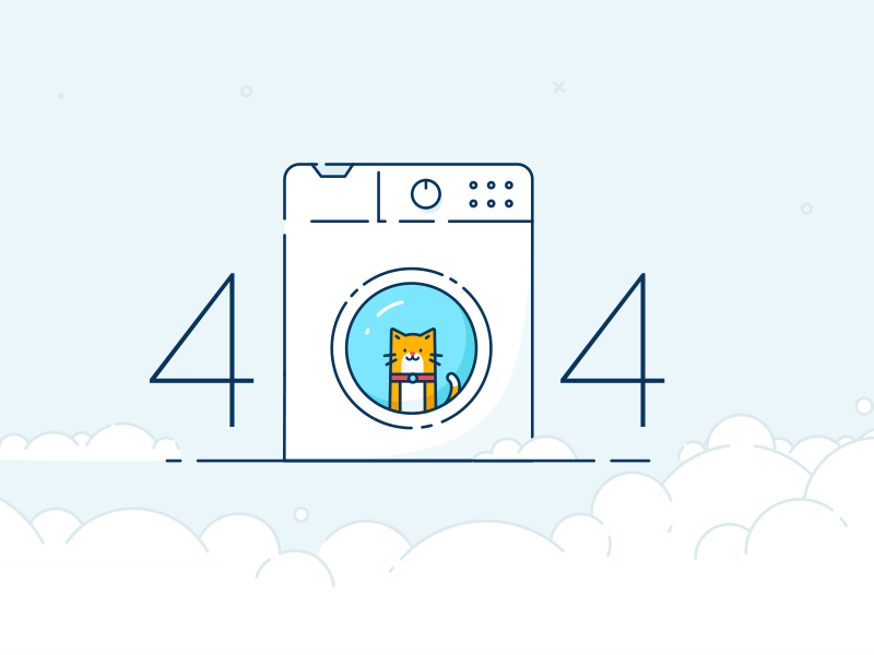 BriteClean 404 website line illustration washing machine cat page not found error 404