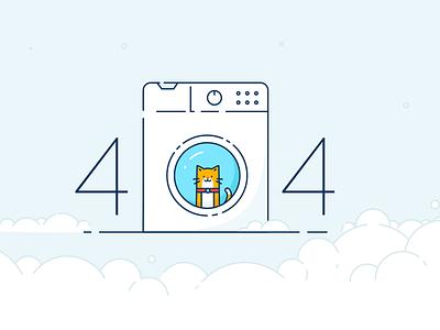 BriteClean 404 website line illustration washing machine cat page not found error 404