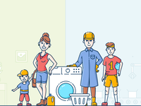 BriteClean illustration line illustration website services textile cleaning washing