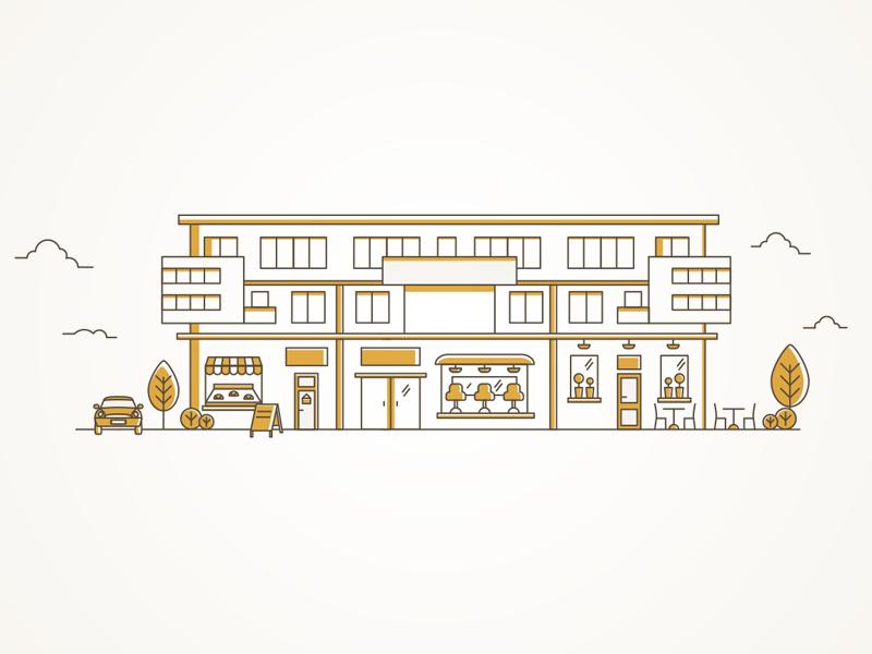 Rivendelle Residence illustration graphic design line building residence illustration