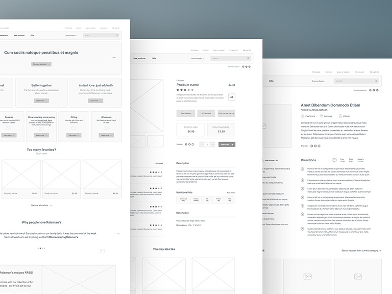 E-commerce wireframe products store shop e-commerce wireframe
