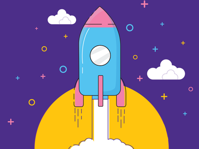 SpaceX FalconHeavy illustration icon clouds stars cosmos spacex rocket