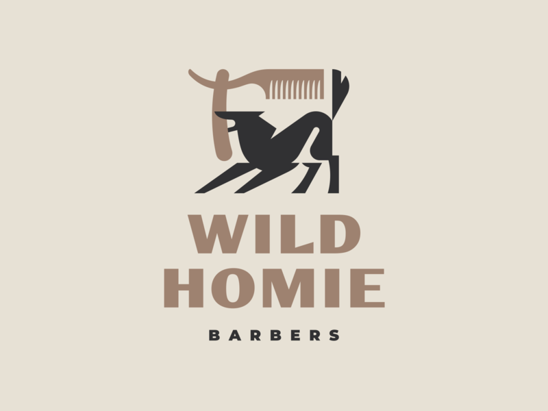Wild Homie logo modern logo geometic illustration branding barbershop homie wild animal mascot haircut hair barber wolf