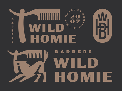 Wild Homie (dark version) wolf wild animal logo modern logo mascot logo illustration homie haircut hair geometic branding barbershop barber animal