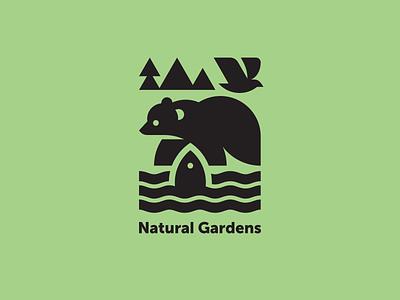 Natural Gardens geometric modern logo nature logotype logo alaska water mountain fish river forest pine bear bird