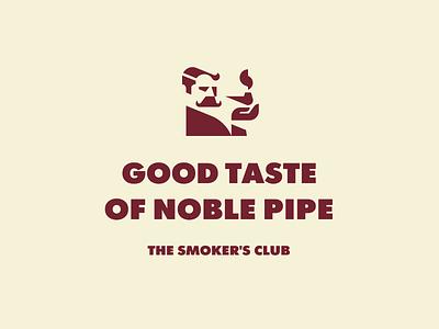 Good Taste of Noble Pipe man shadow face gentleman smoking smoke pipe branding geometry modern logo logotype logo