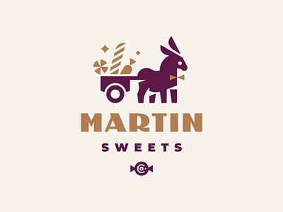 Martin Sweets animal illustration mascot pet logotype logo lollipop brandmark brand identity branding geometric modern logo animal logo cute signboard pennant donkey sweets candy