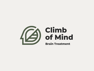 Climb of Mind human line logotype logo treatment medicine support leaf stairs mind brain mental medical health care