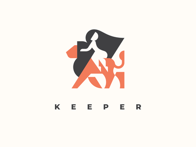 Keeper geometric cute hair keeper woman girl king lion mascot animal logotype logo