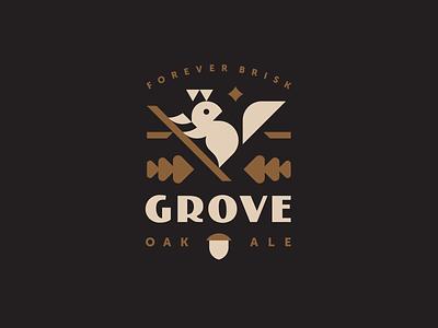 Grove geometric beer branding beer bottle beer label beer can mascot illustration brand identity branding animal logo geometric animal modern logo cute logotype animal logo oak forest squirrel