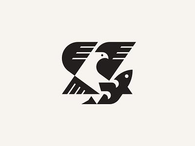 Eagle and fish modern logo geometric bird illustration bird logo mascot geometric wild animal logo logotype usa fishing hunt fish eagle bird animal logo