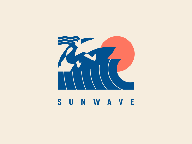 Sunwave surfer man rider badgedesign badge geometric summer wave sun logotype illustration modern logo logo surfing surf
