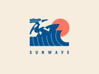 Sunwave surfer man rider badgedesign badge geometric summer wave sun logotype illustration modern logo logo surfing surf