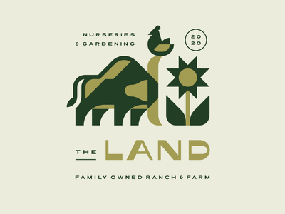 The Land sunflower midwest brand identity ranch farm chicken bull bird geometric branding illustration cute mascot modern logo animal logotype logo