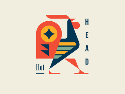 Hothead brand identity cock bird rooster geometric character branding mascot cute modern logo illustration animal logotype logo