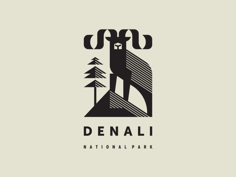 Denali ram sheep north pine nature mountains wildlife alaska national park dallsheep denali geometric animal geometric mascot illustration modern logo animal logotype logo
