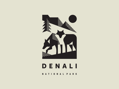 Denali National Park Pt. 2 wildlife wild pine north nature national park mountains modern logo mascot logotype logo illustration geometric animal geometric denali wolf animal alaska