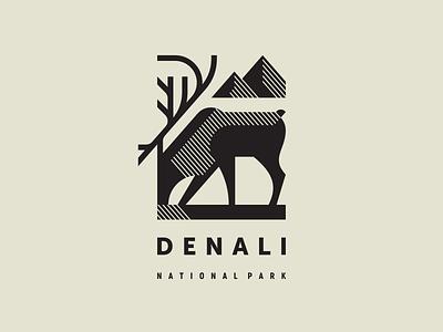 Denali National Park Pt. 3 moose caribou wildlife wild north nature national park mountains modern logo mascot logotype logo illustration geometric animal geometric denali animal alaska