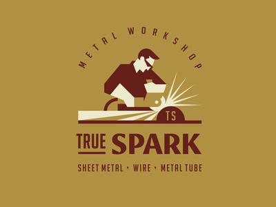 True Spark badge geometric brand identity logobrand retro people vintage handcraft metal face workshop work worker man vector branding illustration modern logo logotype logo