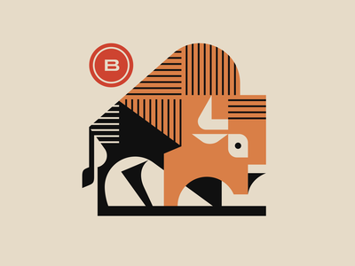 Bison branding buffalo bison vector nature geometric animal geometric mascot illustration modern logo animal logotype logo