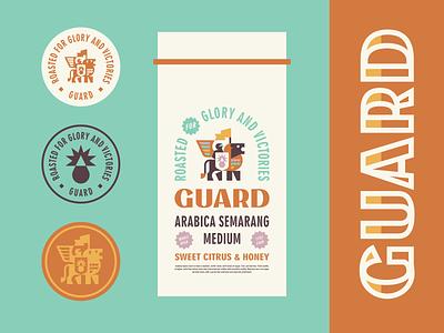 Guard geometric animal package design package coffee brand coffee shield knight king lion brand identity cute branding geometric mascot illustration modern logo logotype logo