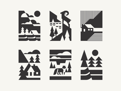 Some landscapes camping logotype logo pine north nature mountains wildlife alaska national park landscape packagedesign package brand identity geometric animal modern logo animal branding geometric illustration