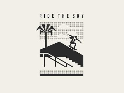 Ride the sky posterdesign monochrome summervibes summertime palmtree palms skateboard illustration summer geometric skater man skate rider poster