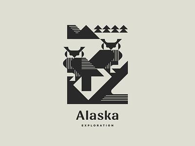Alaska Exploration Pt.2 line wildlife wild monochrome nature north bird owl alaska geometric illustration modern logo animal logotype logo