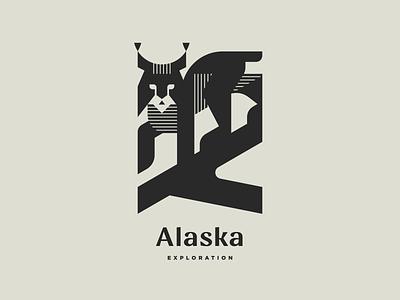Alaska Exploration Pt.3 nature monochrome north alaska wildcat lynx cat line mascot geometric illustration modern logo animal logotype logo
