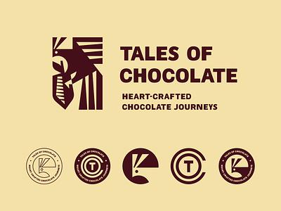 Tales of Chocolate brand identity chocolate cacao bird phoenix firebird design branding mascot geometric illustration modern logo logotype logo