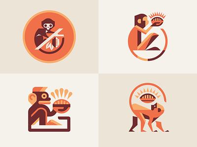 Monkeys character options inspiration brand nature brandmark jungle animals treasure chocolate cacao monkey branding design mascot geometric illustration modern logo logotype logo