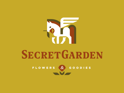 Secret Garden vector pets badge garden flower pegasus horse branding design mascot geometric illustration animal modern logo logotype logo