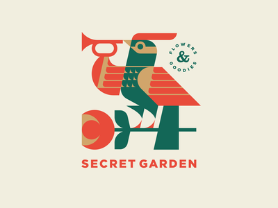 Secret Garden v.2 rooster phoenix flower garden firebird bird branding design mascot geometric illustration animal modern logo logotype logo