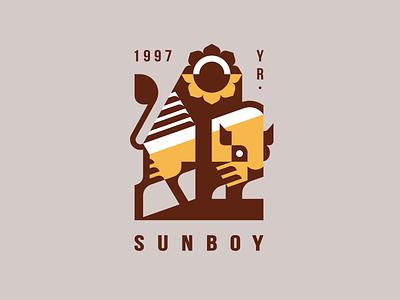 Sunboy nature sticker sun flower buffalo bull bison branding design mascot geometric illustration animal modern logo logotype logo
