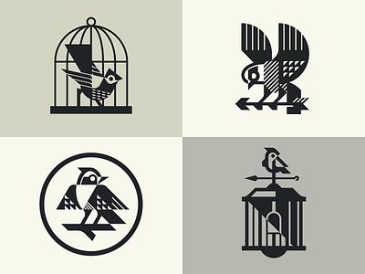 Birds monochrome animal cage birds tattoo bird branding design mascot geometric illustration modern logo logotype logo